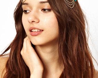 Boho head piece, gold and turquoise,  hippy headpiece, roaring 1920s, costume, headband
