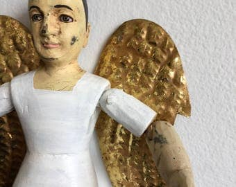 Vintage Folk Art.Wood Angel Figure