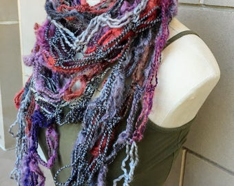 Bohemian Infinity Scarf, Festive Wrap, Airy Shawl, Triangular, Fashion and Function, Dark Purple, Army Green