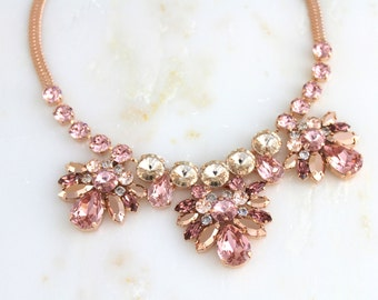 Rose gold Bridal necklace, Swarovski Wedding necklace, Wedding jewelry, Statement necklace, Blush crystal necklace, Bridal jewelry, Vintage