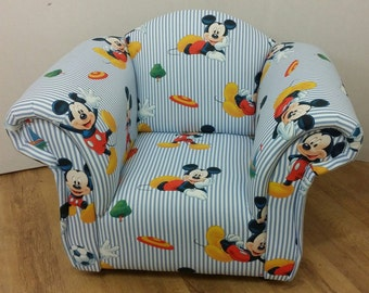 Childrens Armchair in Mickey Mouse Theme Fabric