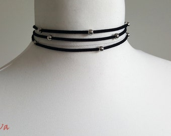 Choker necklace vintage necklace multi black