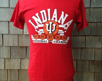 Vintage INDIANA HOOSIERS 1987 National Champs basketball T Shirt by Screen Stars - Small - University Champions