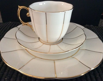Royal Albert Kent Tea Cup, Saucer and Salad Plate / Snack Plate -- White and Gold