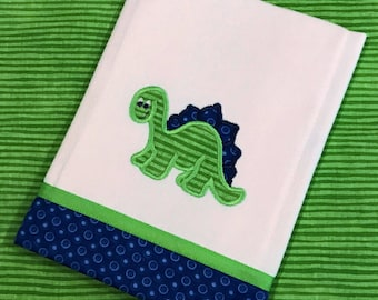 Baby boy applique dinosaur burp cloth