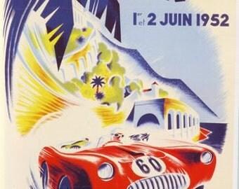 1952 Monaco Grand Prix Poster  A3/A2/A1 Print