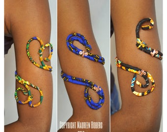 African Print Ankara Upper Arm Cuff, Armlet, Arm Band, Upper Arm Jewelry - One Size Fits Most