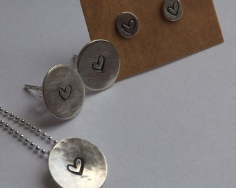 10mm Solid silver circle stamped with hearts on necklace