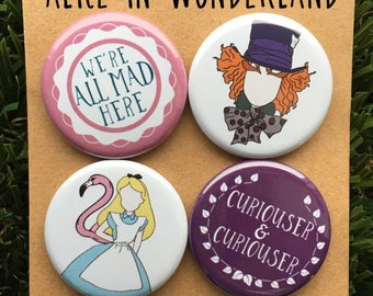 Alice In Wonderland Pins or Magnets - Mad Hatter, Alice, White Rabbit, Cheshire Cat, Queen of Hearts, Disney, Lewis Carroll, Tea Party, Gift