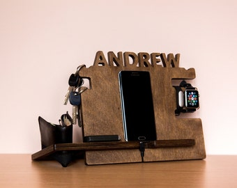 Personalized Android, iPhone  docking station – Smartphone charging stand, gift idea - Mens, boyfriend charging dock