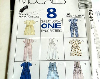 1996 McCall's Children's Dress Jumpsuit and Romper Sizes 4-6 Sewing Pattern UNCUT