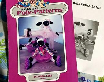 SALE! 1980s Polyfil D209 Ballerina Lamb Draft Dodger Stuffed Animal Sewing Pattern Uncut FF