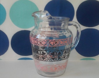 Retro Pink and Black Pitcher- Leaf and Scroll Design on Heavyweight Clear Glass