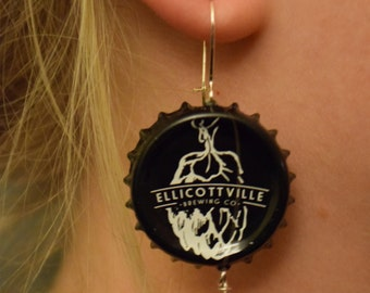 Ellicottville Bottle Cap Earrings with Red Glass Bead Accent