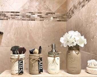 Mason Jar Bathroom set, mason jar bathroom organizer, painted mason jars, rustic bathroom decor