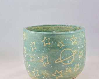 Ceramic Planter / Bowl With Stars and Saturn