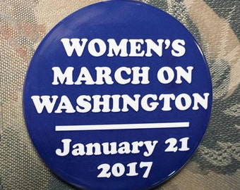 WOMEN'S MARCH on WASHINGTON January 21 2017 pin button hillary clinton donald trump election 2016 blue