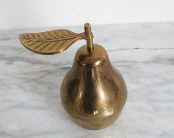 Vintage Brass Decor, Pear Box, Fruit Home Decor, Fruit Kitchen Decor, Kitchen Decor, Home Decor, Brass Accent Fruit Art Decor Jungalow Decor