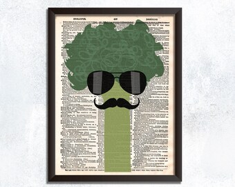 Broccoli Art Print Vegetable Dictionary Art - Broccoli Dictionary Print Funny Artwork Print Funny Gifts For Vegans Broccoli Wearing Glasses