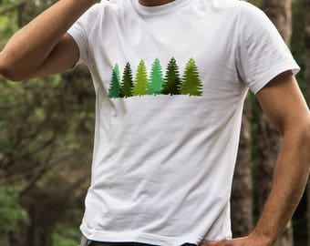 Spruce Tree T-shirt for Men - Tree Line Shirt - Tree Graphic T-shirt - Gift for Hiker - Nature Lover Shirt - Gifts for Nature Lover