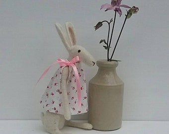 Harriot Hare - Needle Felted White Hare - READY TO SHIP
