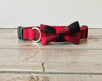 BuFFalo Plaid DOG BOW TIE, Detachable Bow Tie, Made to Order, You Choose Color & Style!!  Pet/Puppy Bow Tie