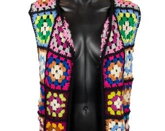 Vintage Retro Crochet Square Vest
