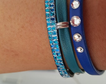 "Wristband leather ""TRIO blue"""