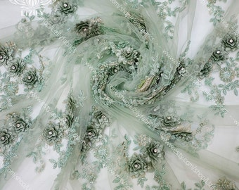 Mint 3D Flowers Exclusive Bridal Luxury Handbeaded Lace with Stones for Ball Gown Prom Dress Wedding Dress by yard