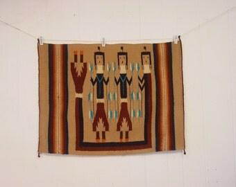 Yei rug, southwestern textile, Indian rug, hand woven, fiber art