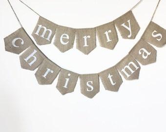Christmas Banner, Burlap Banner, Christmas Decor, Merry Christmas, Holiday Banner, Christmas Bunting, Christmas Burlap, Christmas garland