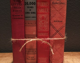 Red Antique Books, Rustic Decorative Books, Wedding Centerpiece, Red Book Decor, Old Book Set, Book Stack, Book Collection- 2