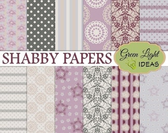 Shabby Digital Paper, Shabby Chic Papers, Vintage Shabby Digital Background, Vintage Scrapbook Paper, Shabby Printable Decoupage Papers