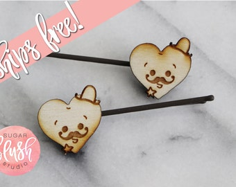 Sheriff Heart Hair Clips - 1 Pair - FREE SHIPPING