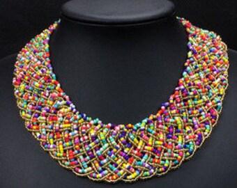 Multi Coloured Beaded Choker Necklace NK4037i