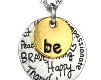 "Silver & Gold Dual Pendant With Inspirational ""Be Happy"" Necklaces NK4073i"