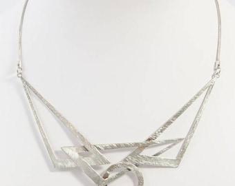 Matt Silver Geometrical Feature Necklace