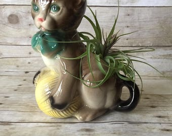 Vintage '50s Kitten with Yarn Ball Planter by Royal Copley