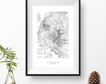 Zion National Park, Utah | Topographic Print, Contour Map, Map Art | Home or Office Decor, Gift for Wilderness Lover, Camper, or Hiker