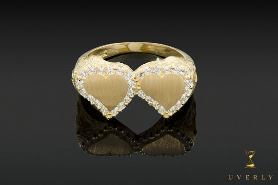 14k Solid Yellow Gold Womens Double Love Heart Sparkling Uverly Ring