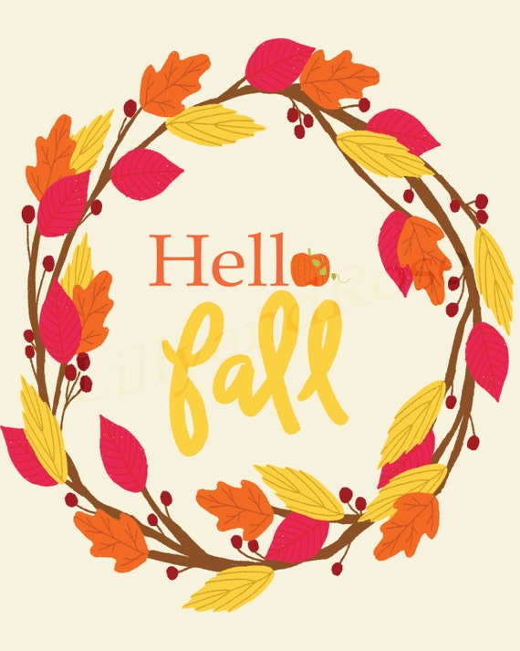 Hello Fall pumpkin wreath print, wall art