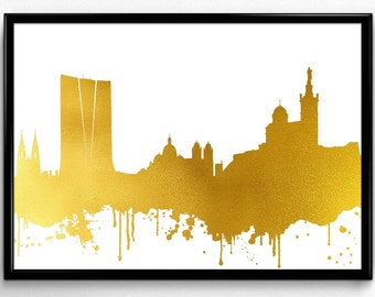 Marseilles Skyline, Travel, City Skyline, gift, Poster, Room Decor, printable wall art (102)