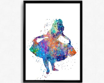 Alice in Wonderland Inspired, Alice bowing, Colorful Watercolor, Tale, Poster, Kids Room Decor, gift, Print  (77e)