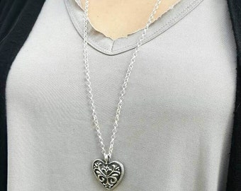 Handcrafted 925 Sterling Silver Heart Pendant. Perfect gift for her.