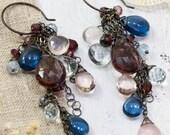 GEMSTONE EARRINGS. sterling silver earrings. quartz earrings. rose quartz earrings. earrings. © MODDO studio.