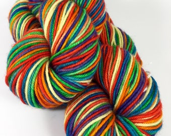 Hand Dyed Yarn, Superwash Merino Wool Yarn, Self Striping Sock Yarn, Fingering Weight Knitting Yarn - Juicy Rainbow Stripes