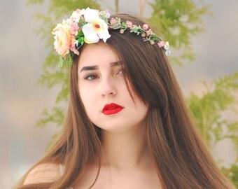 Caramel flower crown boho flower girl Bridal floral crownFall flower crown  Flower halo Bridal floral crown Flower crown Flower hair wreath