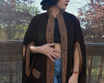 Vintage 60 Leather Suede Poncho / Cape Brown and Creme