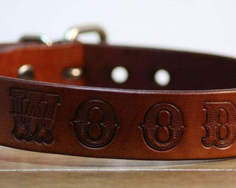 Leather Dog Collar with Font- Handcrafted Leather Dog Collars-  100%  Real Leather - Your Pets Name Stamped On - Good value