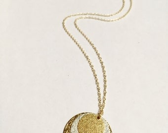 Long gold necklace, 16K gold plated necklace, 3 medallions, silver medallion, gold medallion, birthday present